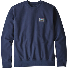 Patagonia Shop Sticker Patch Uprisal Crew Crew Sweatshirt Men Classic Navy